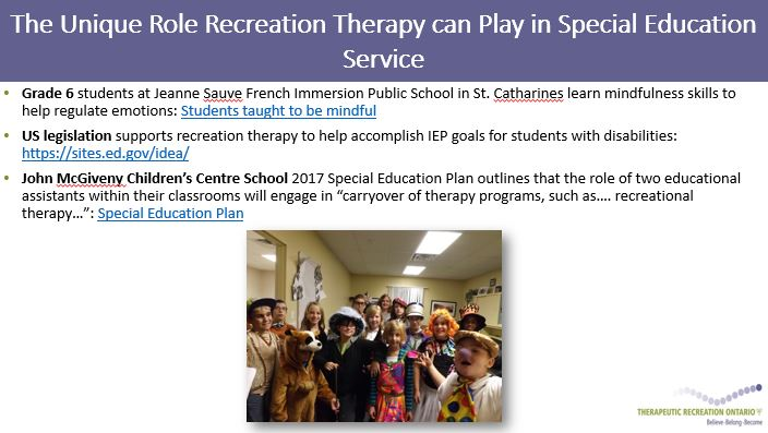 The Unique Role Recreation can Play in Special Education Service