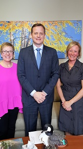 TRO ED Rozalyn Werner-Arcé and President Leanne Hughes with Jeff Yurek, MPP